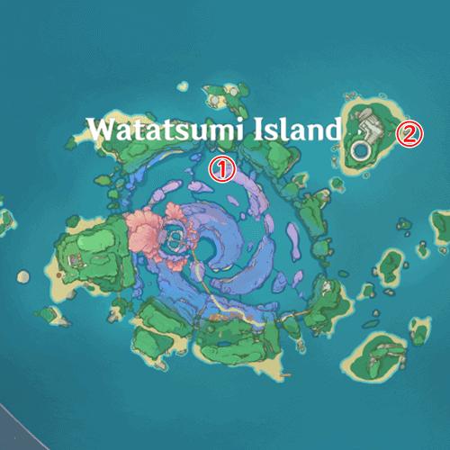 Где ловить рыбу на острове Ватацуми genshin impact