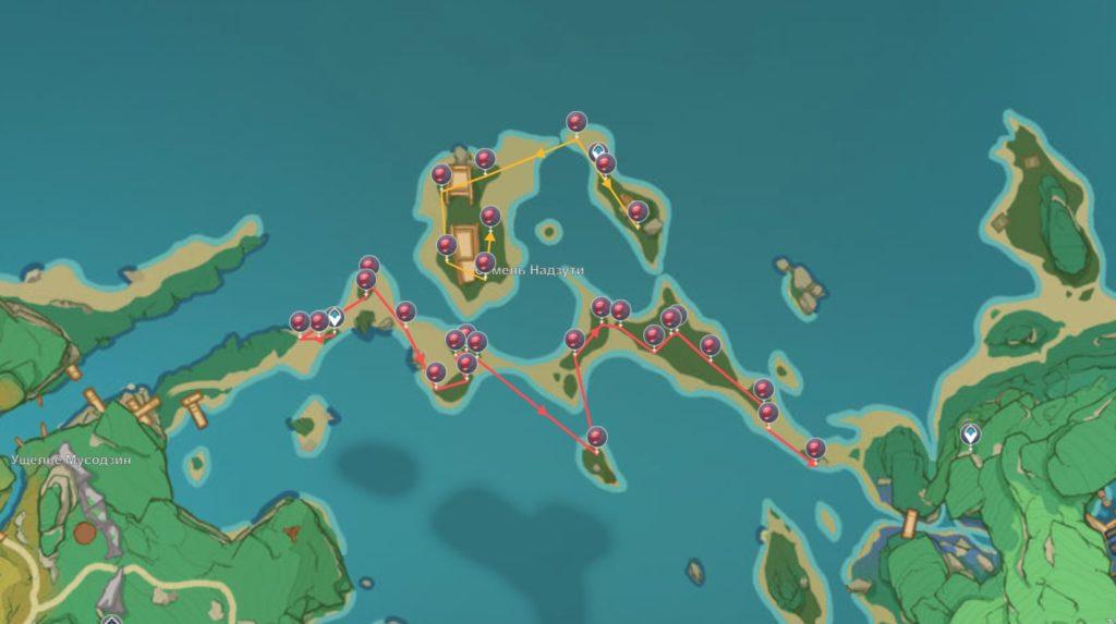 маршрут сбора кровоцвета на побережье надзути