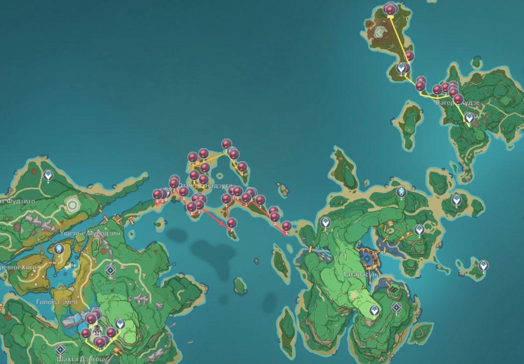 общая карта расположения кровоцвета в genshin impact