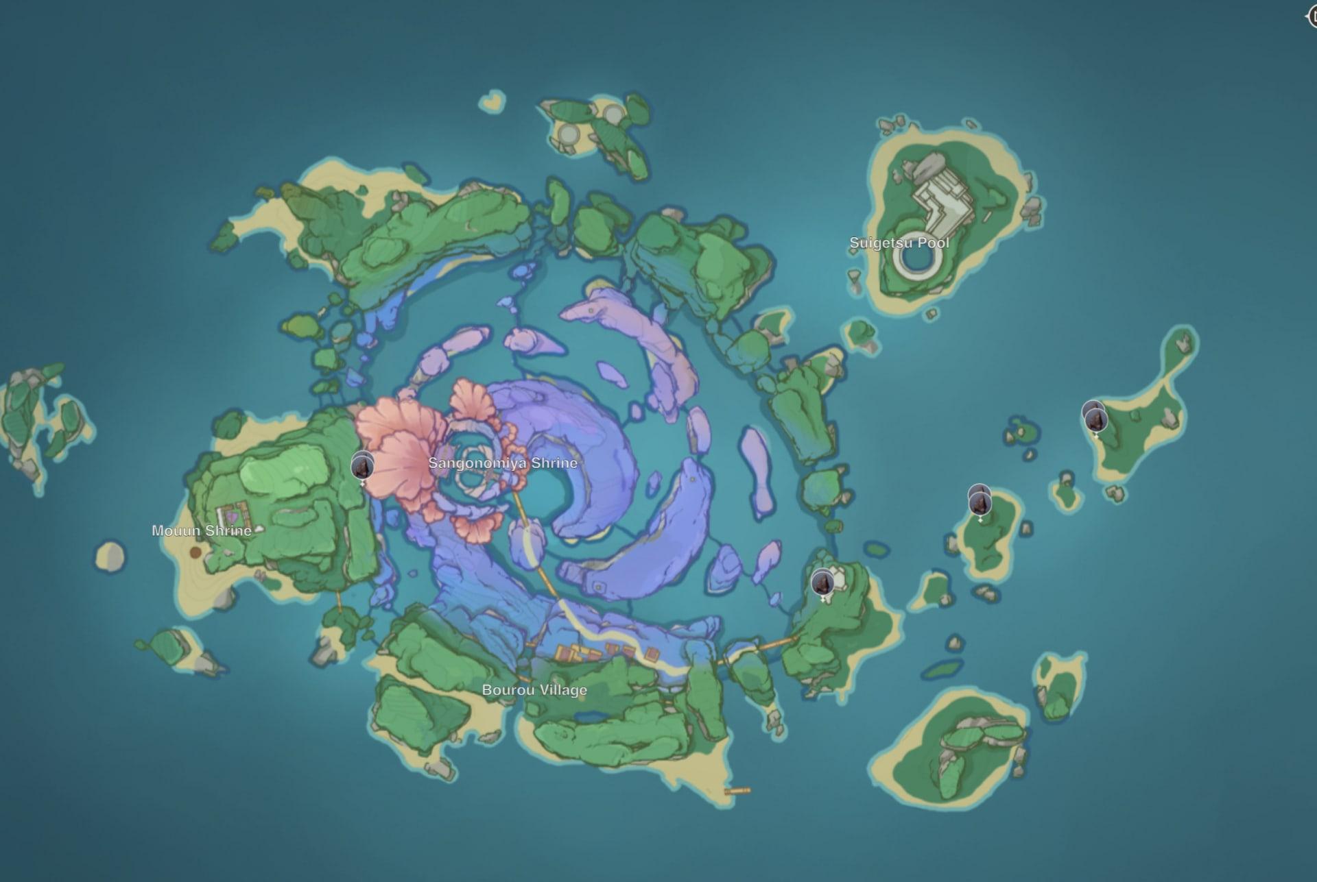 Расположение железной руды на острове Ватацуми