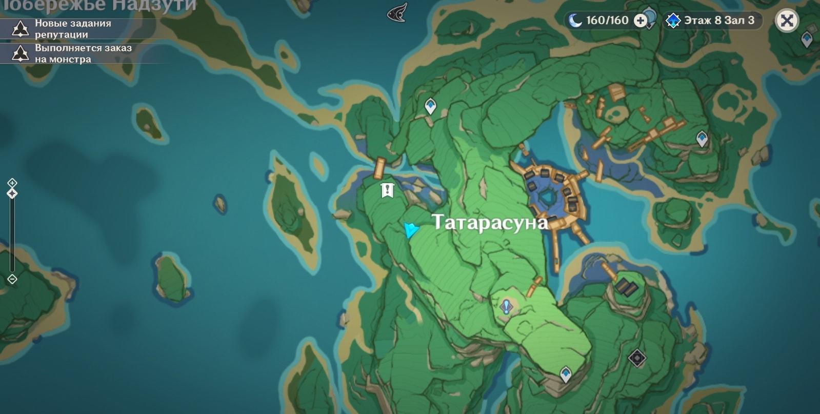 место на карте где находится усыпальница глубин в Инадзуме