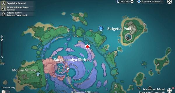 место на карте где находится усыпальница глубин на острове Ватацуми в Инадзуме