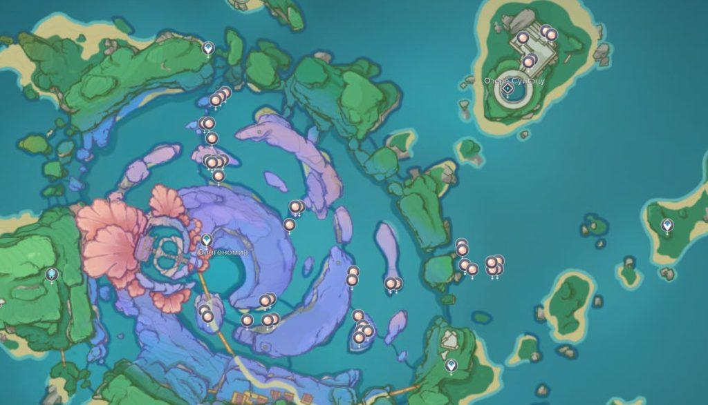 Жемчужина Санго - карта расположения в genshin impact